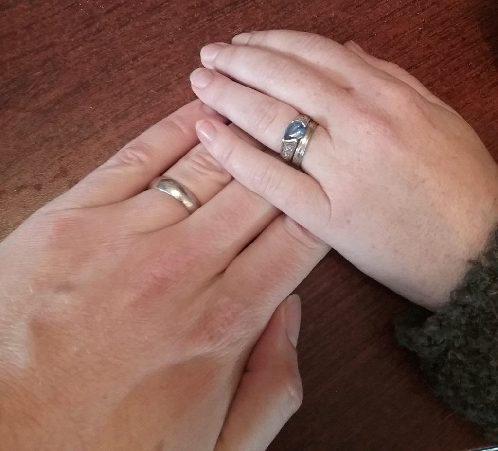 The Vetducator - married wedding rings on each hand picture.